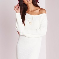 Missguided - Off Shoulder Knitted Jumper Dress Cream