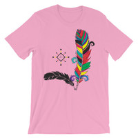 Bohemian colorful feathers Unisex short sleeve t-shirt