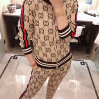 GUCCI New fashion more letter print sports leisure long sleeve top and pants women Khaki