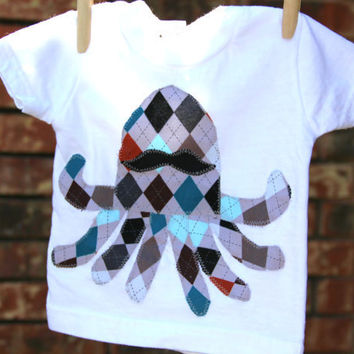 Octopus with a Mustache Argyle TShirt by mylittlemookie on Etsy
