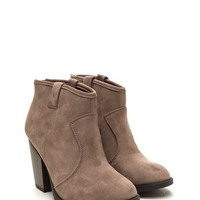 Almond Toe Cowboy Ankle Bootie - Taupe
