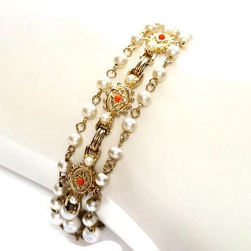 Triple Strand Faux Pearl Bracelet,June Birthstone,GoldTone Bracelet with Simulated Pearls & Coral Colour Beads,Multi Strand Vintage Bracelet