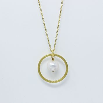 14K Gold Plated Fresh Water Pearl Sterling Silver Pendant Necklace