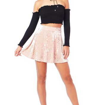 Luxe A-Line Velvet Mini Skirt