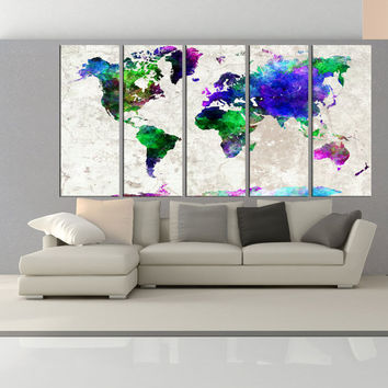 abstract world map wall art print, modern wall decor, extra large wall art canvas print, world map wall decals interior decor No:6S89