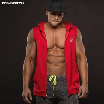 GYMNORTH 2018 Fitness Men Bodybuilding Sleeveless Muscle Hoodies Workout Clothes Casual Cotton Tops Hooded Tank Tops 3 Color
