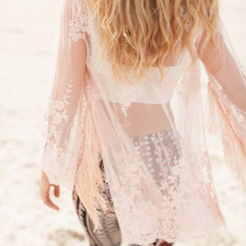 On the Fringe Sheer Pink Kimono - Lotus Boutique