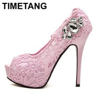2016 new women shoes pumps sexy lace rhinestone mesh hollow open toe high heels ladies fashion brand nude wedding platfoem shoes
