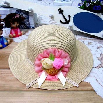 ESB1ON 1Pcs 2017 New Three Rose Summer Children Sun Hat Spring Adult And Girl Beach Straw Hats Parent-child Cap 8 Colors 6144