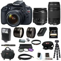 Canon EOS Rebel T5 DSLR Camera with EF-S 18-55mm IS II & 75-300mm Zoom Lens and 32GB Accessory Bundle - Walmart.com
