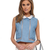 Sleeveless Collar Cropped Top