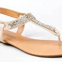 City Classified LYNET T-Strap Rhinestone Slingback Basic Flat Sandal: Shoes