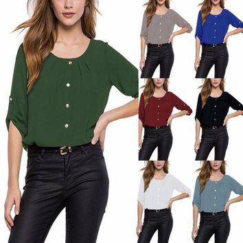 ONETOW S-5XL Large Size Spring Summer 2018 Casual Women Chiffon Blouse O-neck Plus Size Loose Shirt Button Back Hollow Out Chiffon Tops