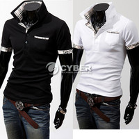 Men's Casual Coat Slim Short Sleeve Polo Shirt Jacket Fit CheckedT-Shirts Tee