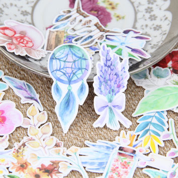 32pcs Beautiful Watercolor Flower Dreamcather Drawing Plants Scrapbooking Stickers DIY Craft Decorativ Sticker Pack Albums Deco