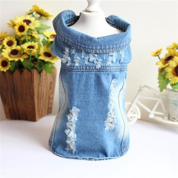 Trendy XS-3XL Pet Clothes For Small Medium Large Dogs Stretchable Chest Dogs Jean Jacket Cool Hole Blue Denim Dog Vests Classic Hoodies AT_94_13