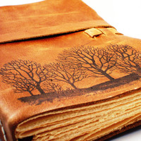 "Forest For The Trees Leather Journal in Primitive Brown- 9""x6"" Large - FREE MONOGRAMMING"