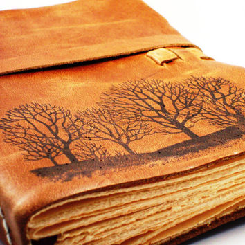"""Forest For The Trees Leather Journal in Primitive Brown- 9""""x6"""" Large - FREE MONOGRAMMING"""