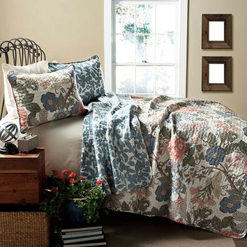 Lush Decor C24027Q14-000 Sydney Green and Blue Three-Piece Full/Queen Quilt Set