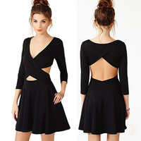 Black Cut-Out Dress with 3/4 Sleeves