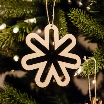 Wooden Snowflake Ornament Retro