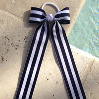 Navy and White Tuxedo Hair Bow with Long Tails, Streamers, Navy and White Hairbow, Navy and White Bow, Streamer Bow, Long Tails Bow, Uniform