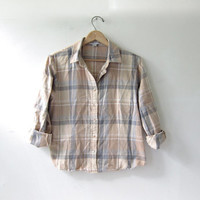 Vintage Plaid Flannel / Grunge Shirt / Boyfriend button up shirt / Cropped Pendleton Flannel