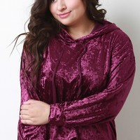Crushed Velvet Drawstring Hoodie Top
