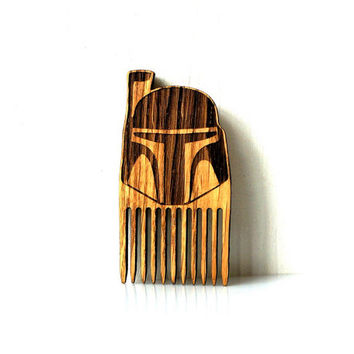 Star Wars Beard Comb Boba Fett Shaped Wooden Mustache Comb Gift idea Men For Him Fathers Day Gift Gift for Him Husband Gift Friend Gift