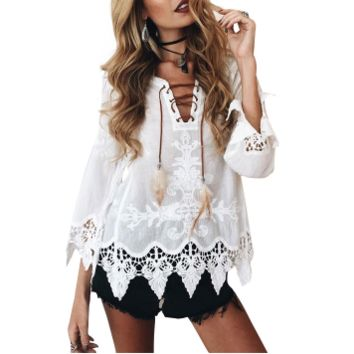Sheer Boho Lace Peasant Blouse
