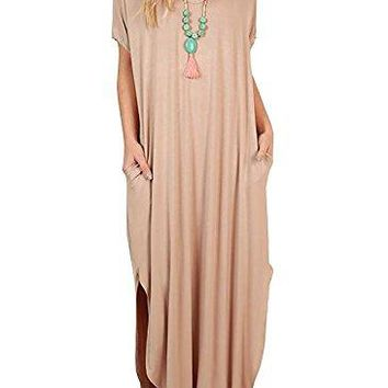 Imysty Womens Casual Short Sleeve Loose Fitting Side Split Long Maxi Dresses with Pockets