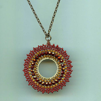 Beaded Pendant Necklace Sunrise Spectacular Seed Bead Weaving Woven Circular Stitch Antique Brass Necklace