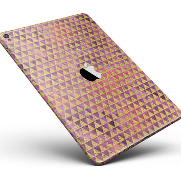 """Micro Golden Triangles Over Pink Fumes Full Body Skin for the iPad Pro (12.9"""" or 9.7"""" available)"""
