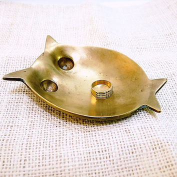 Brass Owl Tray Dish Abstract Hong Kong Vintage 1970s Home Decor