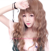 Lolita Small Fresh Brown and Dark Green Mixed Cosplay Wig