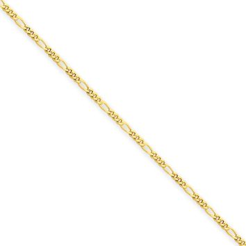 1.25mm, 14k Yellow Gold, Flat Figaro Chain Necklace, 18 Inch