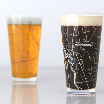 Middlebury, VT - Middlebury College - College Town Map Pint Glass Set