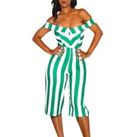 Off Shoulder Indie Striped Jumpsuit