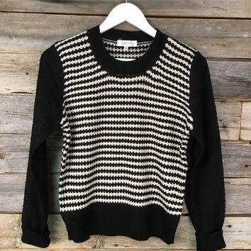COLOUR BLOCK SWEATER - BLK+IVORY