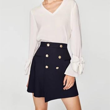 G0814Z21 Europe and America 2017 fall new thick golden button adornment bust skirt B179 0815