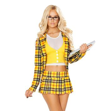3pc School Girl Without A Clue Costume