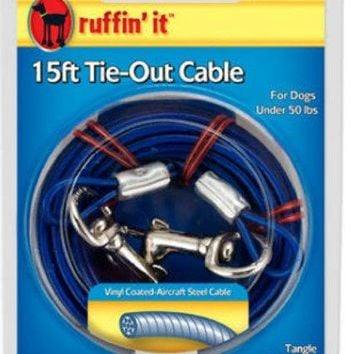Ruffin' It 29115 Light Weight Dog Tie-Out Cable, 15', Blue