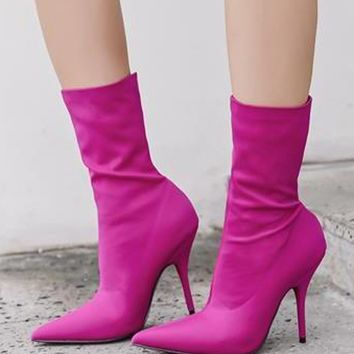 Hot Pink Stretch Heeled Ankle Boots