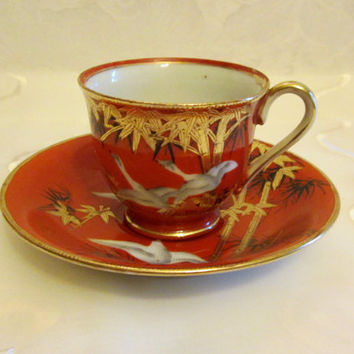 Vintage Mid-Century CPO Koshida Japan Hand Painted Gold Bamboo Demitasse Cup and Saucer