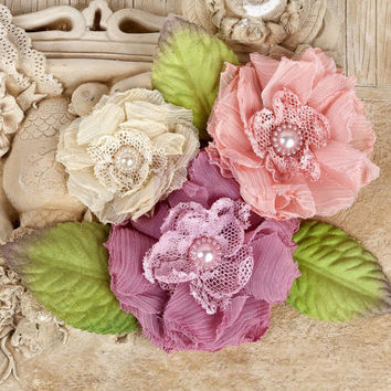 Prima Fabric Flowers Paquita Collection Dawn Item 566418 Soft Peach Pink Ivory Mauve Embellishment for scrapbooking, millinery, home decor