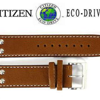 Citizen Eco-Drive AO9030-05E 22mm Brown Leather Watch Band Strap S086167