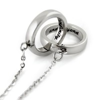 """Infinity Necklace, Interlocking Bands """"To Infinity and Beyond"""" Engraved inside, Unisex Two Rings Pendant"""