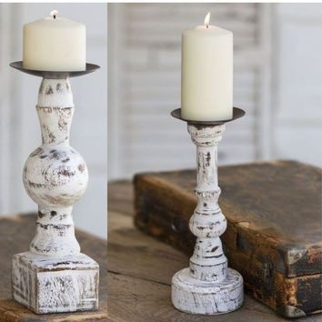 Set of 2 Farmhouse Country Distressed WOOD PILLAR CANDLE Holder Rustic Primitive