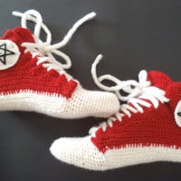 Crochet sneakers novelty slippers ankle wool socks red slippers crochet slippers fashion modern socks teen socks knit US 5 -16
