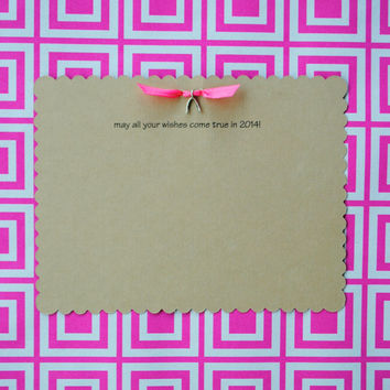 Wishes for 2014 Wishbone Charm Cards-set of 3